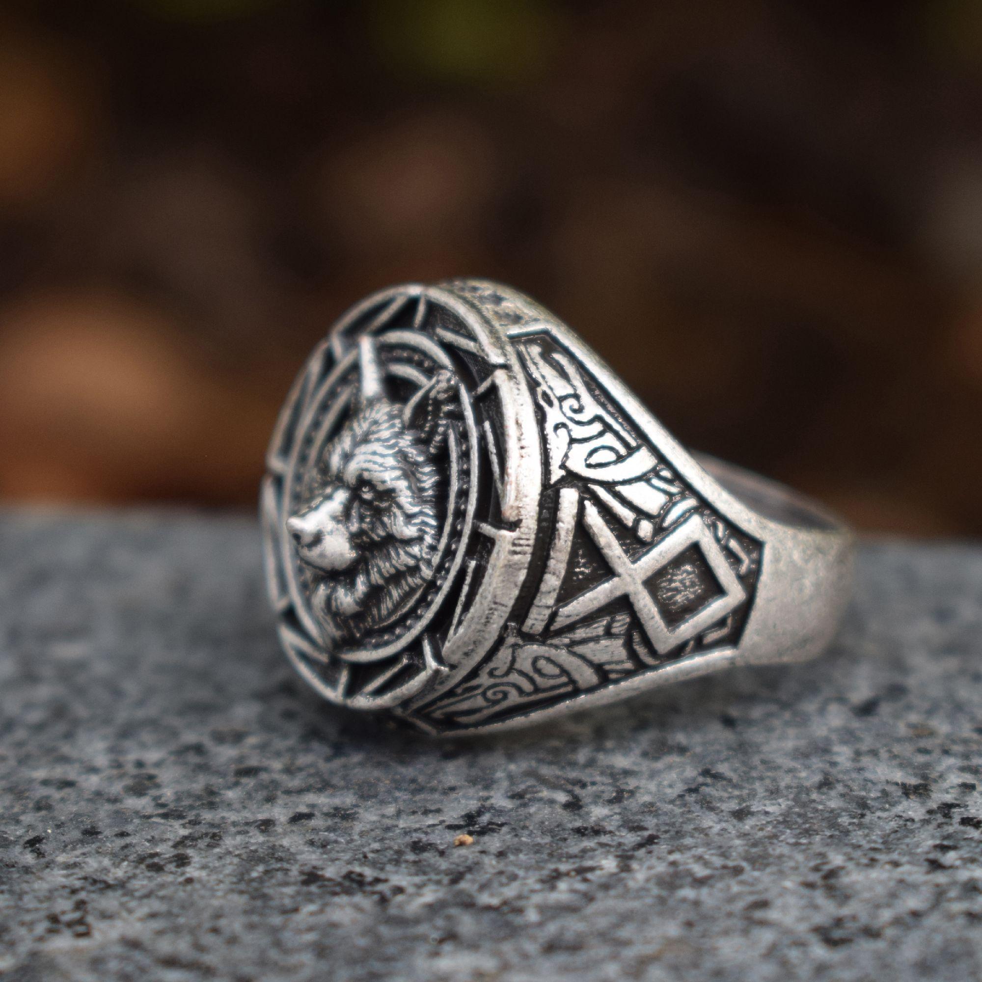 السلافية الذئب رجل السائق القوطي عصابة الذئب مجوهرات الشرير مجوهرات خواتم الذئب رجل هدية 12 قطعة / الوحدة