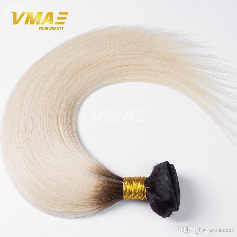 Brazilian virgin Hair Straight 100g 1B 60 Ombre Bundle Human Hair Bundles Two Tone Sew in Human Ombre Weave Hair