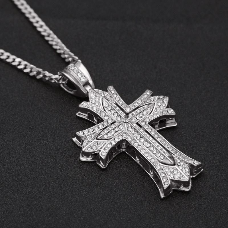Fleur Croix Pendentif Collier Mens Or Cubain Lien Chaîne Collier Glacé Sur Pendentif Hip Hop Bijoux