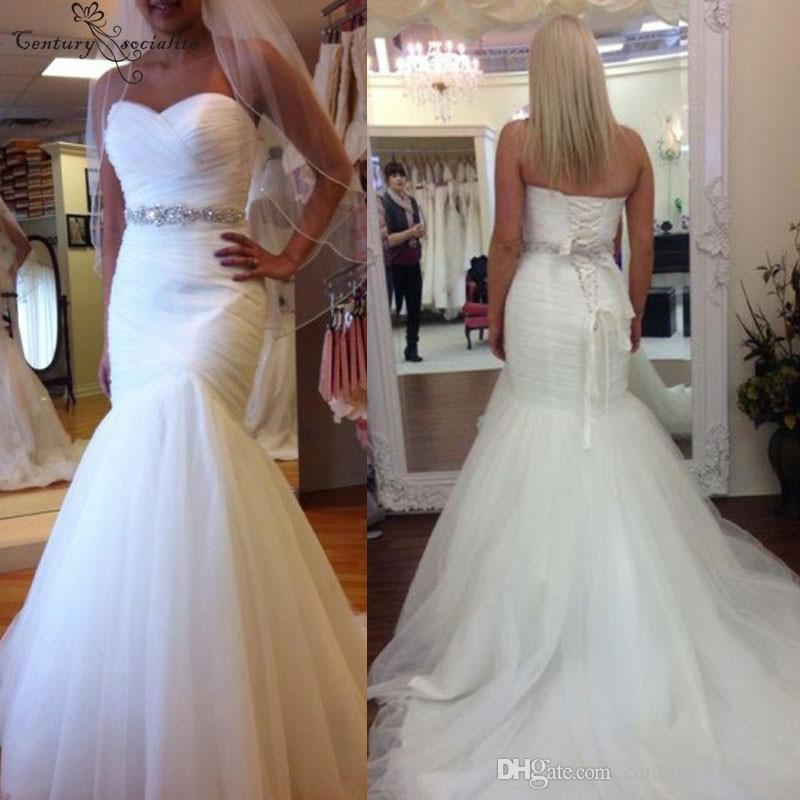 Real Sweetheart Mermaid Wedding Dresses Beaded Belts Strapless Lace Up Back Sweep Train Bridal Gowns Robe De Mariee Cheap 2019