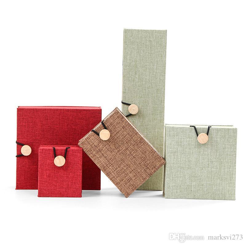 Leinwand Hölzerne Schnalle Schmuck Box Armband Armbänder Ring Aufbewahrungsbox Anhänger Halskette Jade Packing Display Box