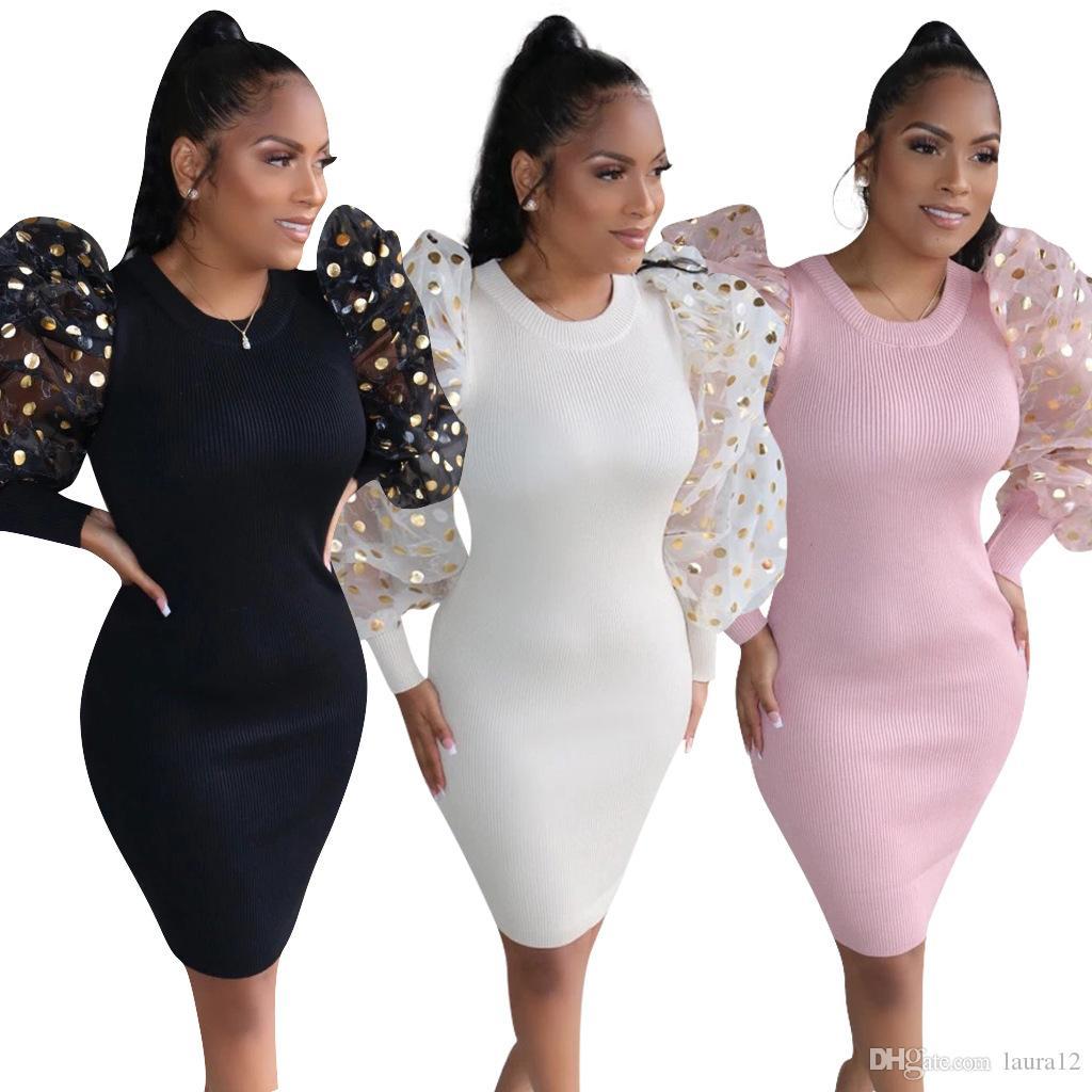 2020 ultima moda gonfio Party Dress maniche Donne Vestito aderente Dot Paillettes Maglia girocollo con pannelli corti sexy Primavera locale notturno di usura