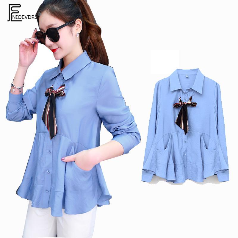 2019 Bahar Temel Gömlek Bluzlar Sıcak Kadınlar Moda Uzun Kollu Mavi Kırmızı Beyaz Düğme Gömlek Casual Sevimli Tatlı Papyon F232 Tops