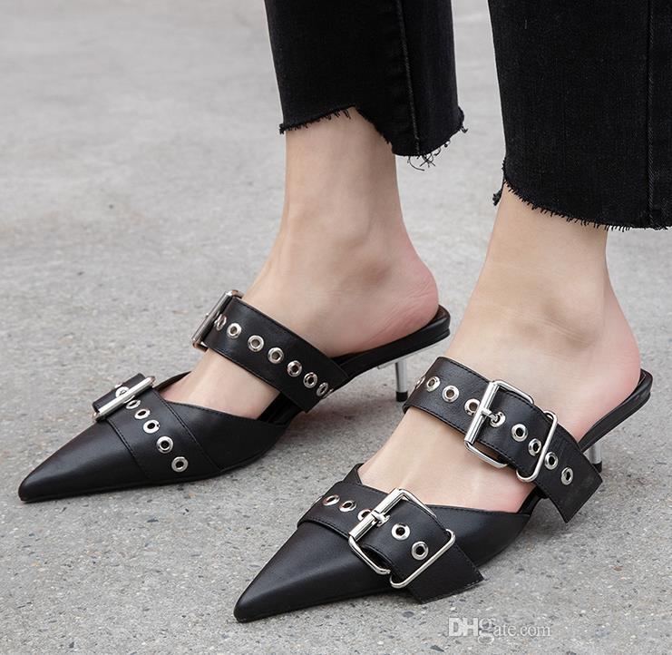 Top Grade Black White Calfskin Leather Riveted Buckle Pointed Kitten Heel Mules Luxury Women Fashion Designer Shoes 40MM tradingbear