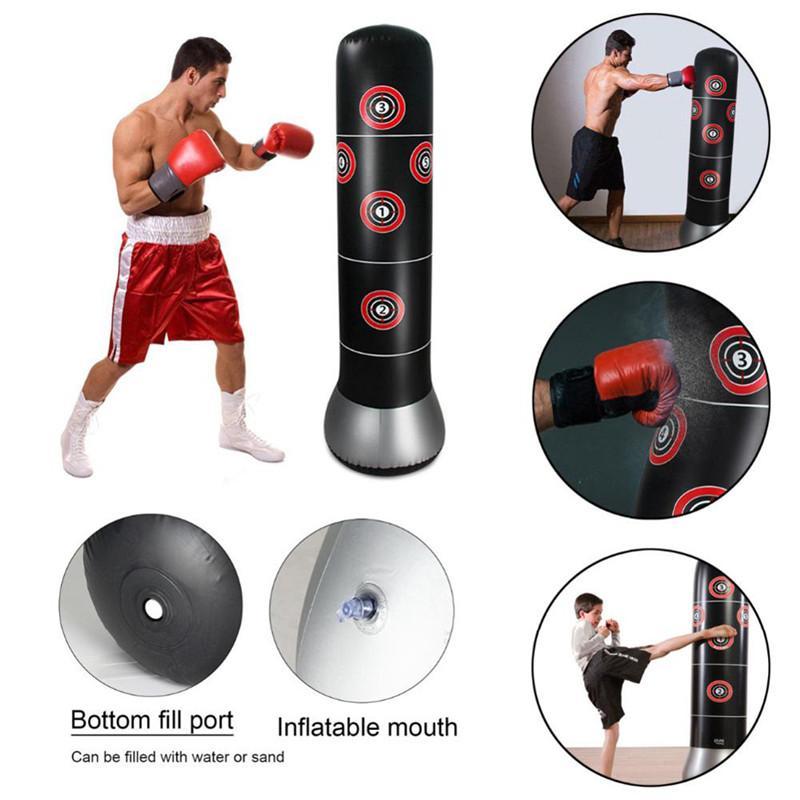 160cm boxe gonflable coussin d'air sec poinçonnage sans pression support de formation thai relief sac de sable colonne de boxe épaississant PVC
