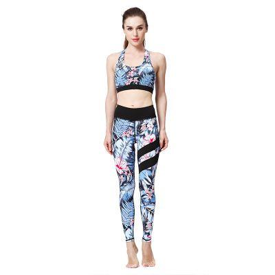 Frau Designer Yoga Wear Sexy Sommer Yoga Wear Fitness-Anzug Gedruckt Hosen Schnell trocknend BH Strumpfhosen Sport Trainingsanzug Bekleidung Sets Großhandel