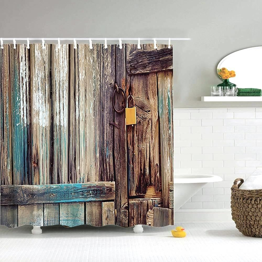 Old Rustic Wooden Door Decor Bathroom Fabric Polyester Shower Curtain /& 12 Hooks