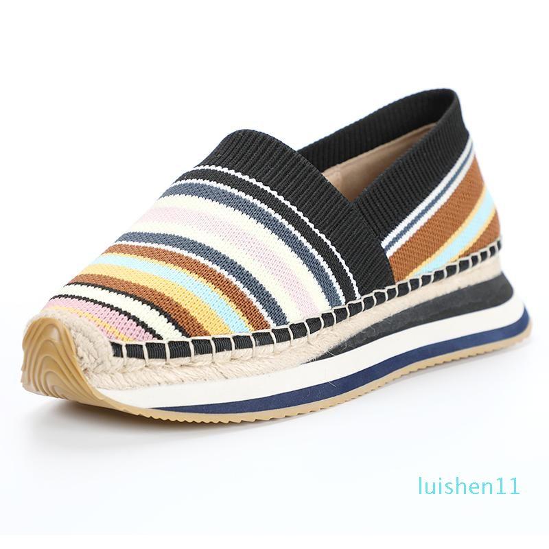l11 Dzym de primavera y verano de malla tejida de las mujeres zapatillas de deporte de la plataforma de 4 cm Pisos trenzado del arco iris pescador zapatos de algodón guinga Mocasines