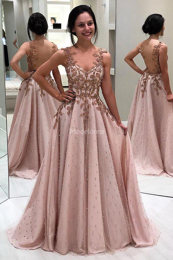 Compre Lujo 2019 Vestidos Modernos De Noche Perlas Con Cuello En V Profundas Apliques Una Línea Barrido Tren Ilusión Fiesta Vestidos De Baile Vestidos