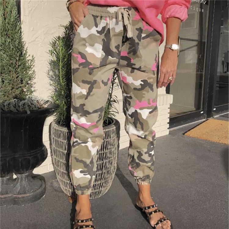 Bahar Bayan Kamuflaj Spor Pantolon Elastik Bel Düz Moda Bayan Kalem Pantolon Günlük Sade Bayan Pantolon Cepler