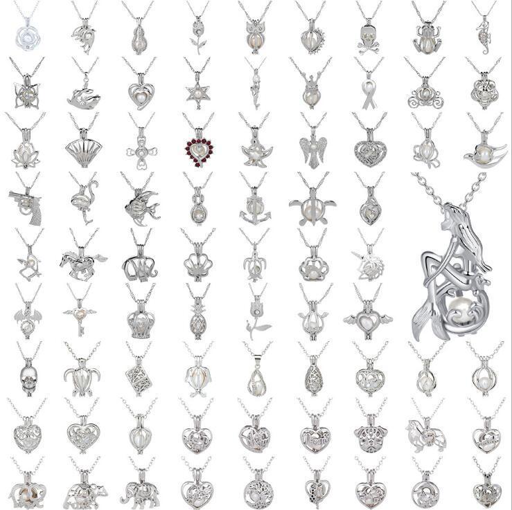 53 أساليب لؤلؤة قفص قلادة أقفاص افتتاح المدلاة سحر و 925 الفضة الاسترليني على نحو سلس سلاسل ثعبان أزياء DIY مجوهرات حوامل GB1640