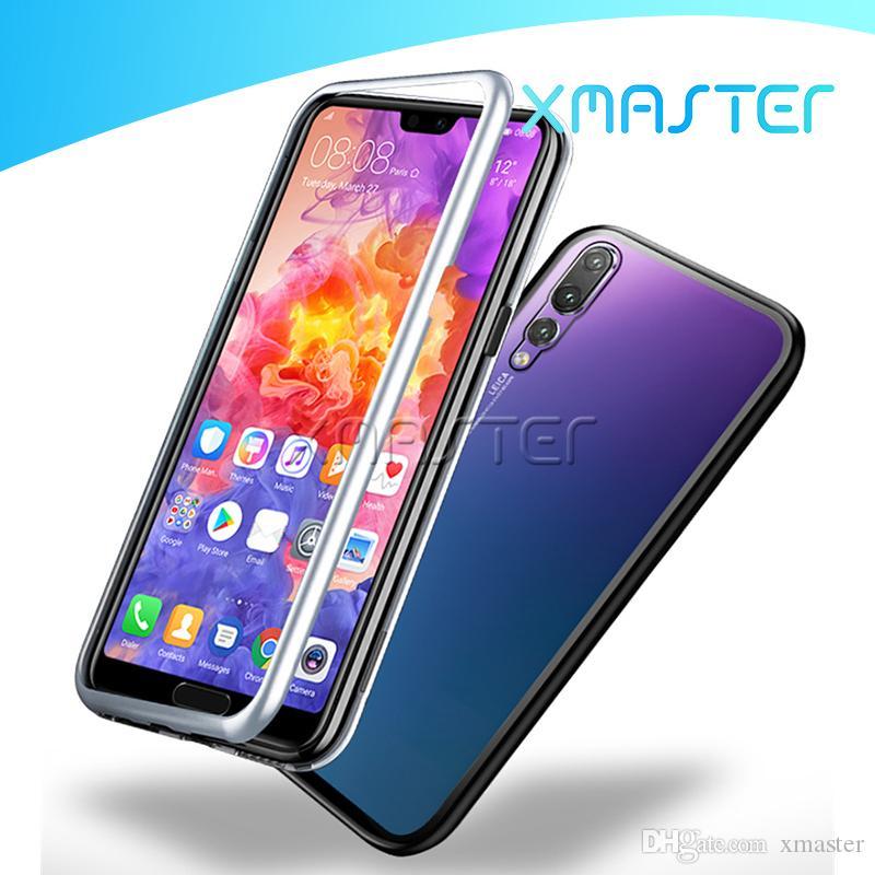 Phone Case magnetica adsorbimento metallo per Huawei P40 P30 Lite Pro Mate fotogramma 30 in lega di alluminio con xmaster posteriore temperato la copertura posteriore di vetro