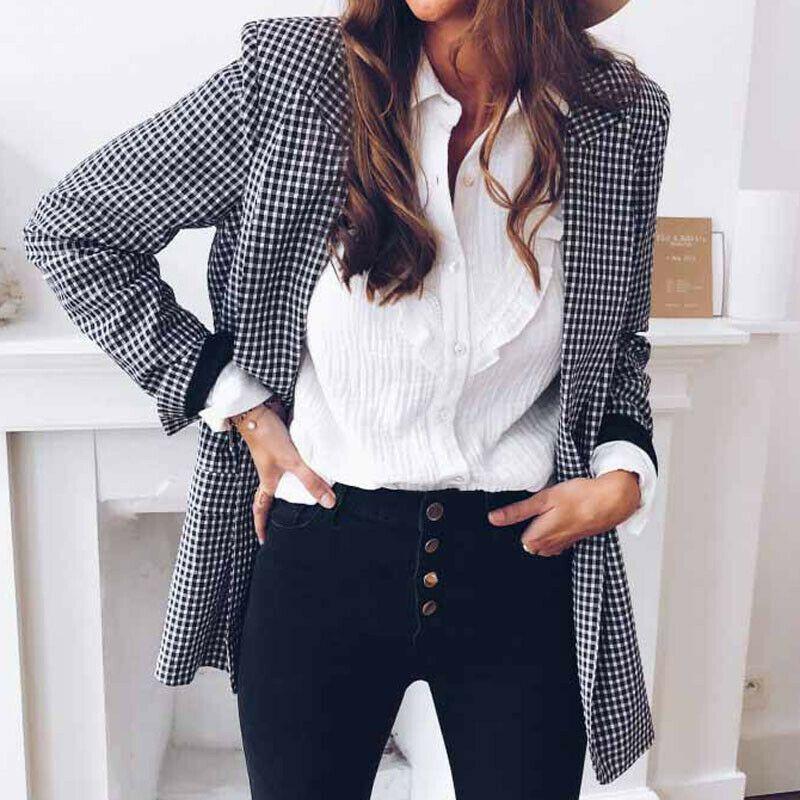Женские костюмы Blazers Мода Женщины Черно-белый Плед Blazer Повседневная Пальто Длинный Унл Slim Fit Отвороты Топы Кардиган Воесть