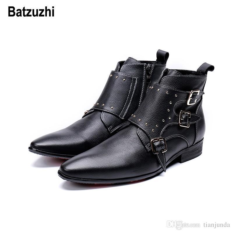 Batzuzhi coreano tipo moda uomo scarpe stivali autunno inverno nero stivaletti in pelle da uomo punta a punta fibbie zapatos de hombre