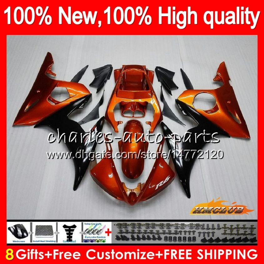 Обвес для YAMAHA YZF600 оранжевый черный YZF 600 R 6 600CC YZF R6 03-05 59HC.23 YZF-R6 YZF-600 YZFR6 03 04 05 2003 2004 2005 обтекатель +8Gifts