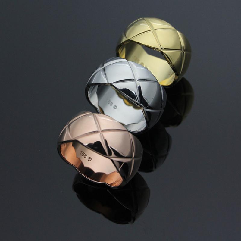 gioielli di lusso caldo Belle marca di modo dell'acciaio inossidabile 316L vite Amore Finger CH anelli per gli uomini 7 millimetri Coppia Rosegold vasta amanti regali gioielli