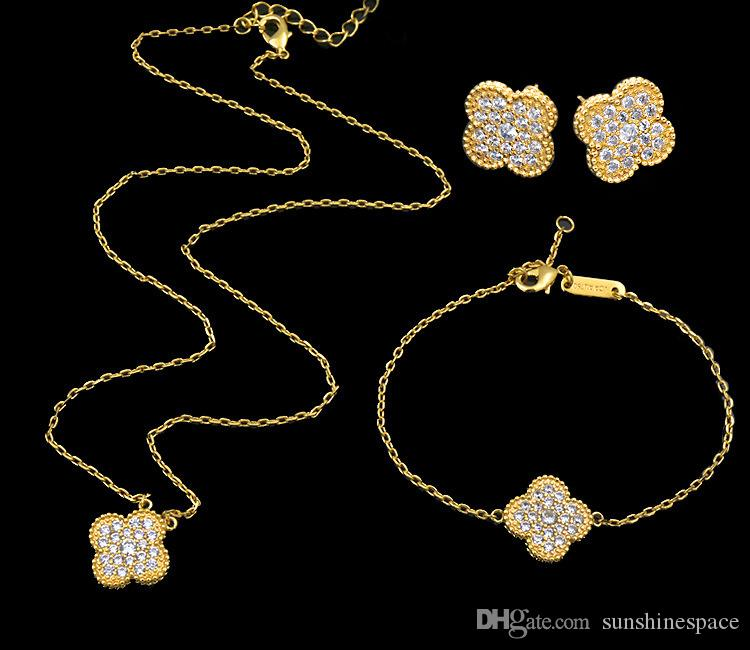 الملكة لوتس أزياء ذات جودة عالية 18K مطلية بالذهب الزهور سلسلة سوار قلادة أقراط مجموعة مجوهرات للنساء بالجملة