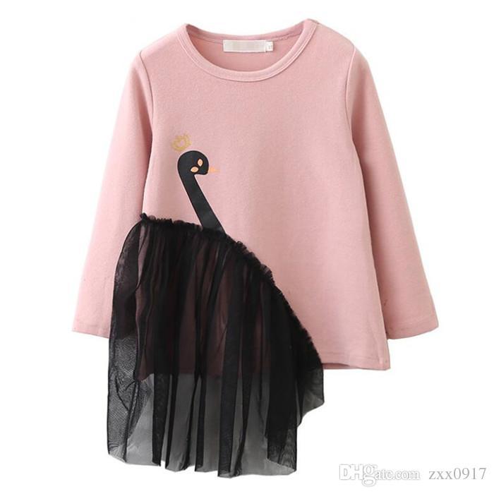 2019 New Spring Kids Vestiti a maniche lunghe T-shirt Cartoon Animal Swan Ragazze Felpe T-shirt per bambini