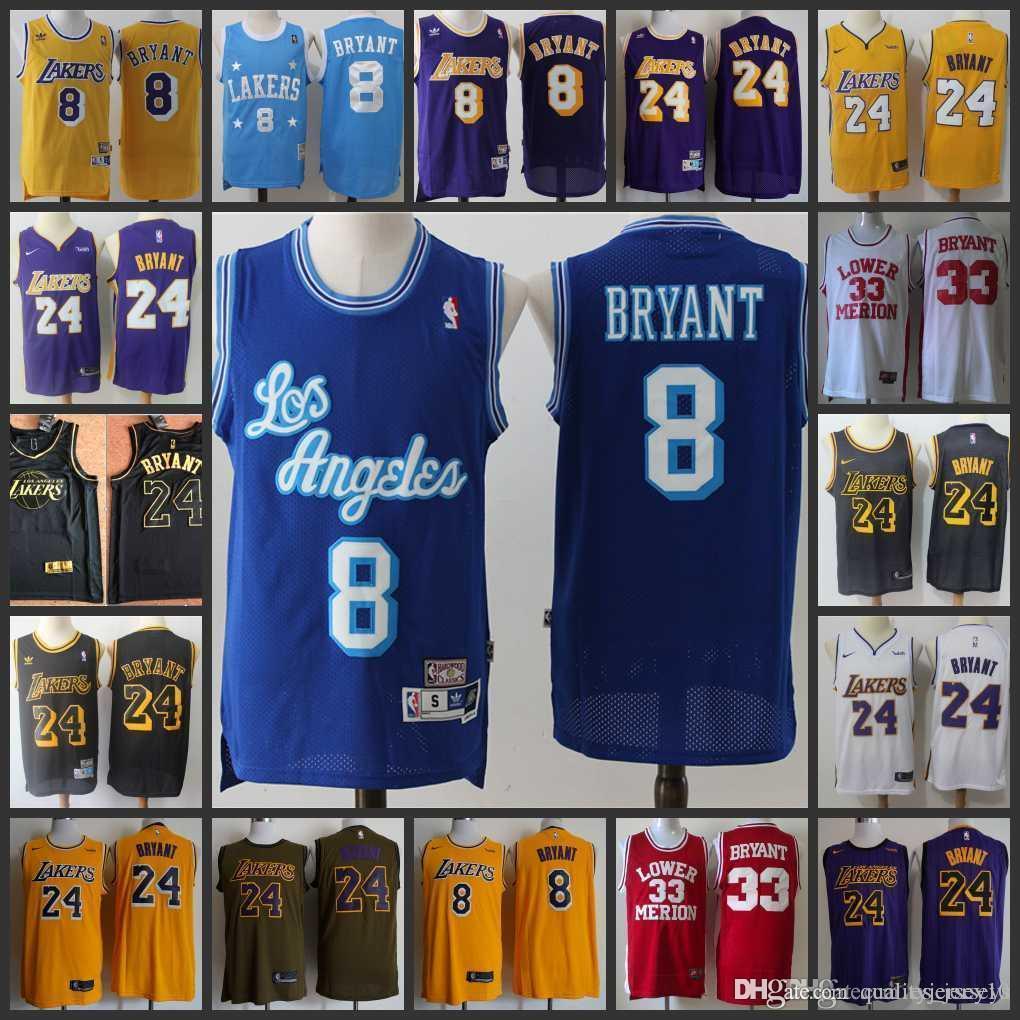 New Men/'s Los Angeles Lakers Basketball Jersey NO.8 Kobe Bryant Mesh blue
