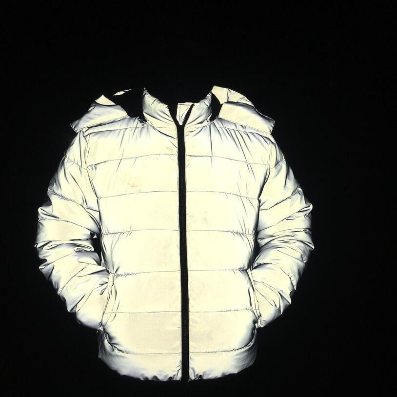 2020 homens novos inverno reflexivo espessamento quente algodão acolchoado adolescentes jaqueta noctilucentes roupas de algodão acolchoado encapuzados