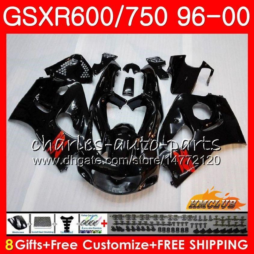 Suzuki Srad GSXR 750 600 GSXR-600 GSXR750 96 97 98 99 00 1HC.1 GSX-R750 GSXR600 Glossy Black 1996 1998 1998 1999 2000 Fairing Kit