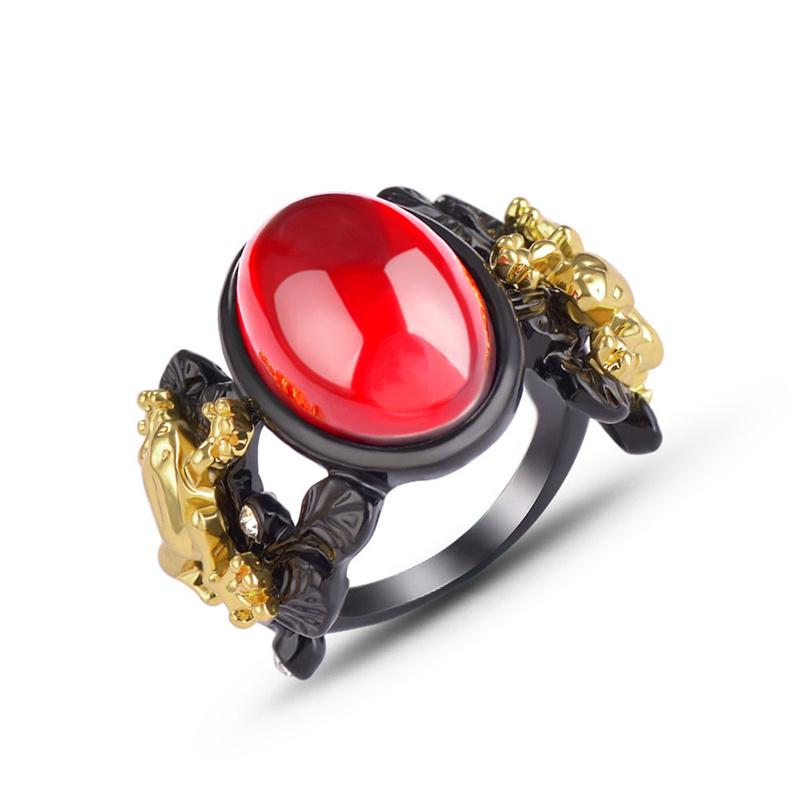 [DDisplay]Creative Resin Black Ring Gold Ring Lady Readious Gold Frog Rings Jewells Unisex Green Restone Party Reams Club