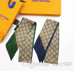 편지는 능직 실크 스카프 여성 고급 디자이너 패션 핸드백 활 리본 헤어 머리띠 여름 여성의 작은 머리 스카프를 인쇄