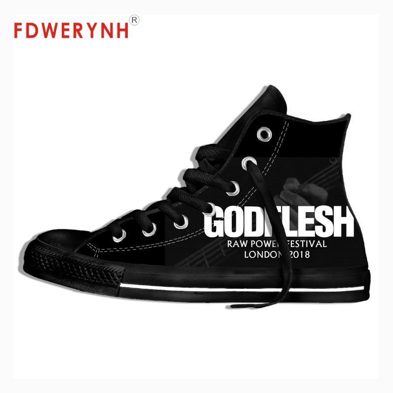 Uomini a piedi scarpe di tela metallica Musica Rock Band Godflesh progettare il proprio online misura Colore Lace-up Scarpe Svaghi piattaforma