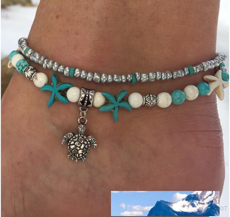 Mode Meeresschildkröten Nachahmungen von Perlen Starfish-Charme-Armbänder Fußkettchen für Frauen Bohemian Sommer-Fuss-Ketten Schmuck Geschenke