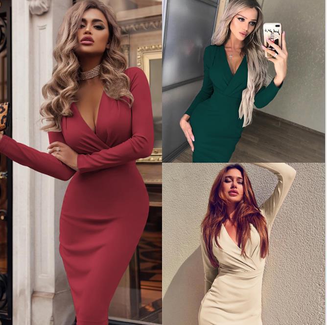 إمرأة الهيئة غير الرسمية V الرقبة فساتين Soild اللون مثير الخريف مصمم الملابس للحزب أزياء المرأة اللباس عارضة
