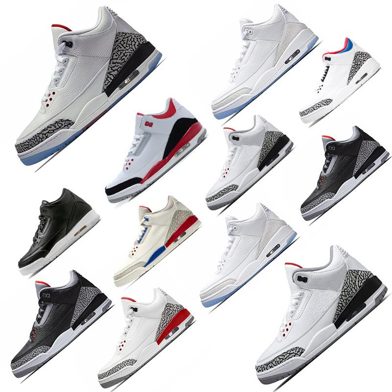 Vente chaude Hommes Chaussures de basket-J3 3 Vol Usa Qs internationale Katrina Tinker Jième LANCER FRANC Ciment Noir Blanc Ligne Sport Sneaker 41-47