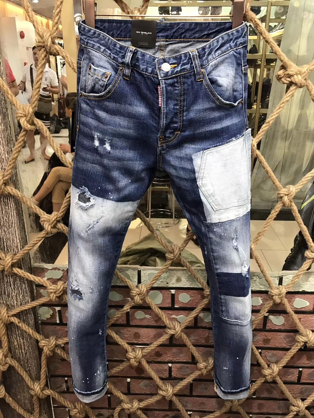 Hot Sale Patchwork Jeans Men 2020 New Skinny Jeans Fashion Biker Denim Overall Skinny Pants Casual Mens Clothes .