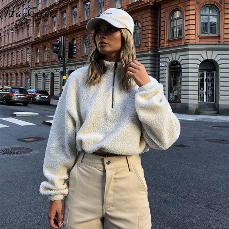 Оптово-Hugcitar длинным рукавом Zipper высокая шея Поддельный овечьей урожай топы 2018 осень зима женщин моды твердый пальто куртки