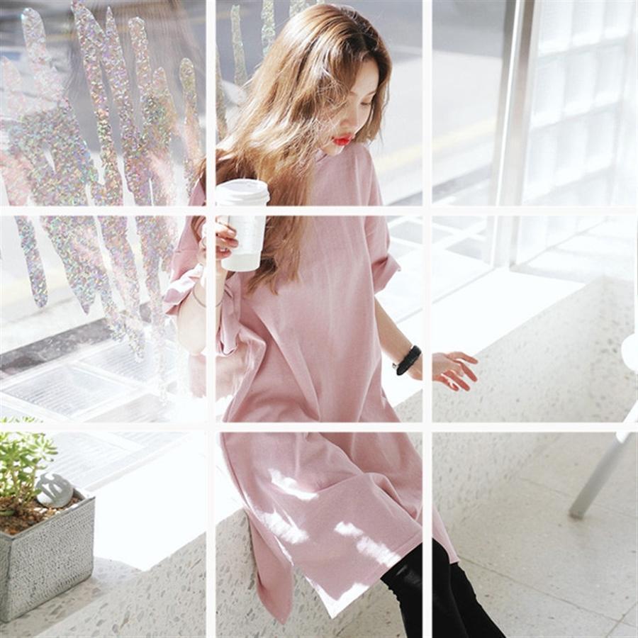 2020 à manches courtes T-shirt jupe longue T-shirt rose pur étudiant lâche robe des femmes occasionnels grande de moyenne taille et robe longue