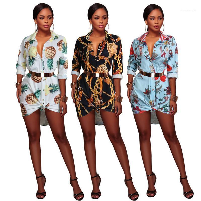 Escritório camisa das mulheres Vestidos Moda multi impressão manga comprida Laple Vestidos pescoço Casual mulheres Blusas