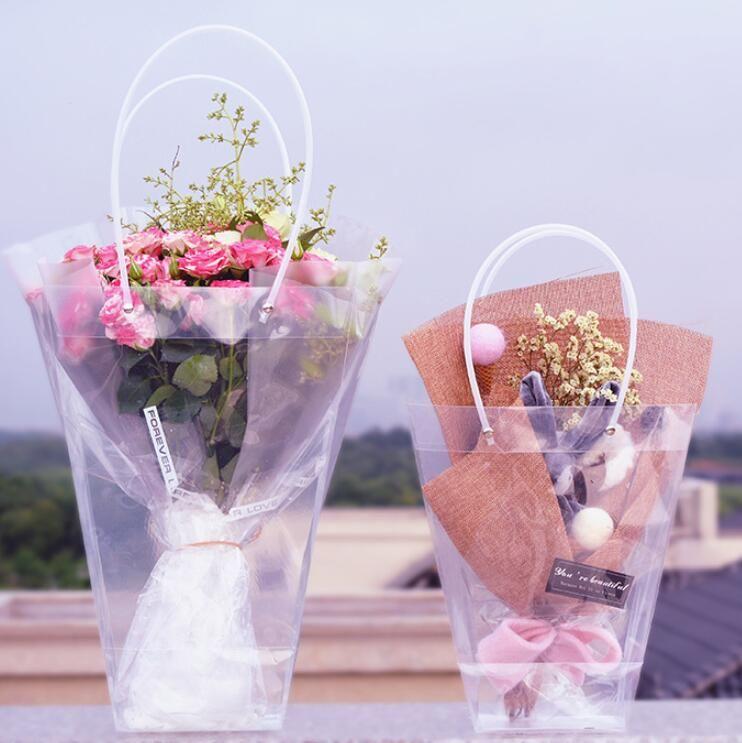 Трапециевидный Прозрачный мешок подарков Пластиковые хранения сумка ПВХ цветок Сумки Сумки Магазин упаковки партии Праздничные цветы Сумки GGA2565