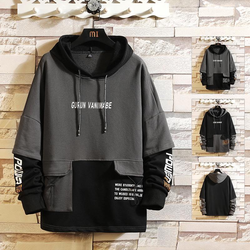 Men's Hoodies & Sweatshirts Japan Style Casual O-Neck 2021 Spring Autumn Print Hoodie Sweatshirt Thick Fleece Hip Hop High Streetwear Clothe
