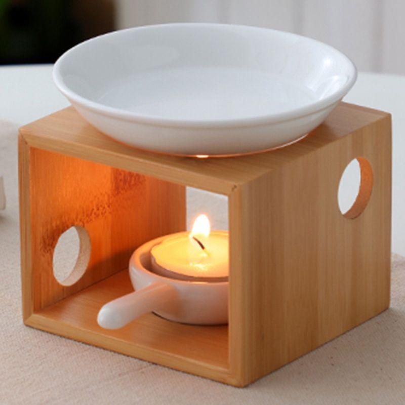 Ana Romantik Petrol Mumlar Tutucu Yatak Lambası Güzellik Parfüm Uyuyan Mum Aromaterapi Fırını Bambu tütsü brülör
