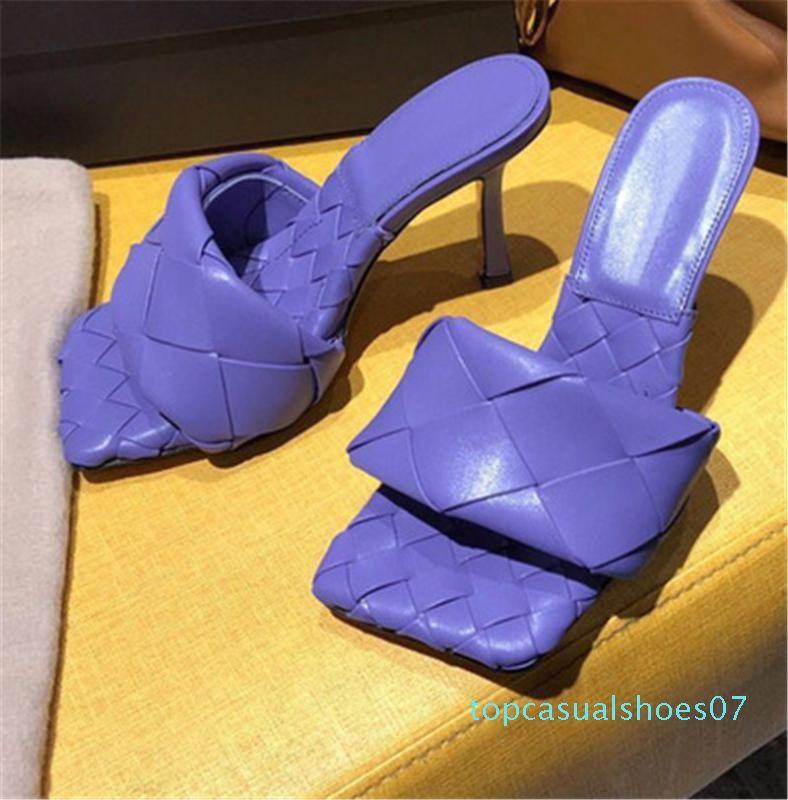 De alta calidad de cuero genuino tejido de piel de oveja Mujeres mulas deslizadores de los zapatos del dedo del pie Sequare señora del diseñador Diapositivas del partido de los altos talones t07
