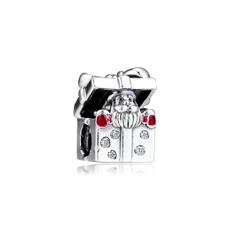 ЦКК Fit Браслет Санта в Charms серебро 925 Giftbox Оригинальные бусы для изготовления ювелирных изделий стерлингового серебра Perle Berloque