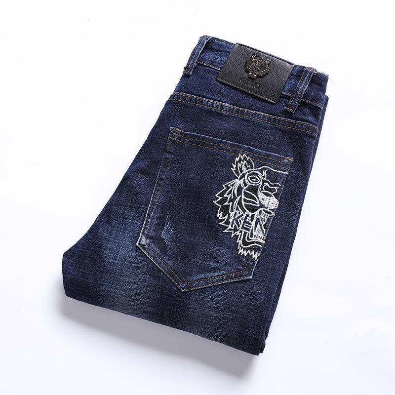 Herren Jeans elastische Kraft Slim Fit Kleine senkrechtem Fuß mit Wasser waschen Dark Blue Four Seasons Trend Geld
