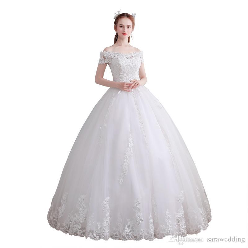 어깨 명주 볼 가운 웨딩 드레스 2020 레이스 아플리케 웨딩 드레스 바닥 길이 신부 드레스 오프
