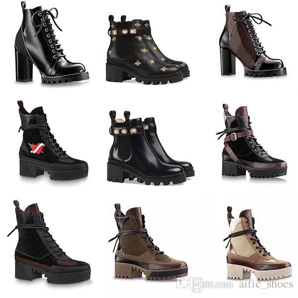 vaquero Martin Desert Boot Fahsion botas de plataforma para mujer botas de invierno flecha de amor 100% flamencos 5cm de cuero verdadero talón de medallas suelas resistentes