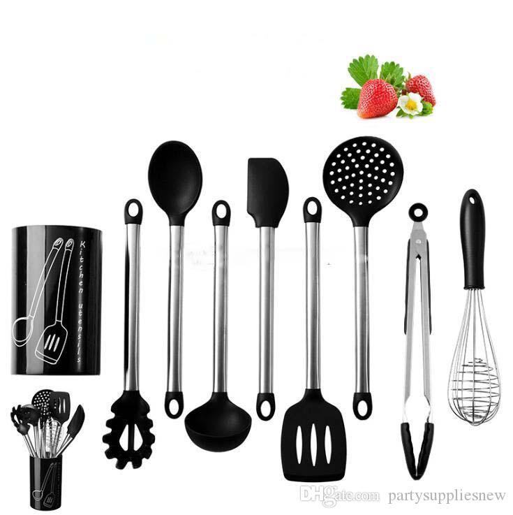 9pcs cuisine outils de cuisine ensemble silicone poignée en acier inoxydable cuillère pelle antiadhésif vaisselle outils de cuisine accessoires fournitures