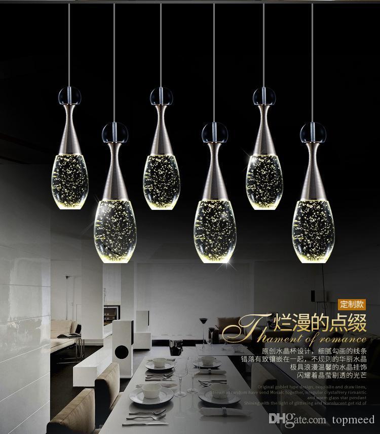 زجاجة فاخرة الحديثة led الثريات الإضاءة luminaria بريقا الكريستال غرفة الطعام قلادة مصباح الثريا الصمام شنقا ضوء