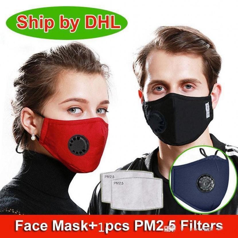 2020 DHL Navio de Algodão Máscaras Face Anti-Poeira Com Valor Ao Ar Livre Ciclismo Ajustável Proteção Reutilizável Máscara de boca FY0016
