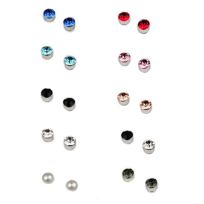 Stainless Steel Magnet Crystal Stud Earrings No Hole Ear Clip Health Fashion Jewelry for Men Women Will and Sandy Drop Ship D1