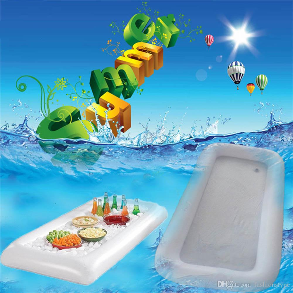 Neue Sommer Aufblasbare Biertisch Pool Float Wasser Party Luftmatratze Eiskübel Serving Bar Salatbuffet Eiskühler Picknickgetränk