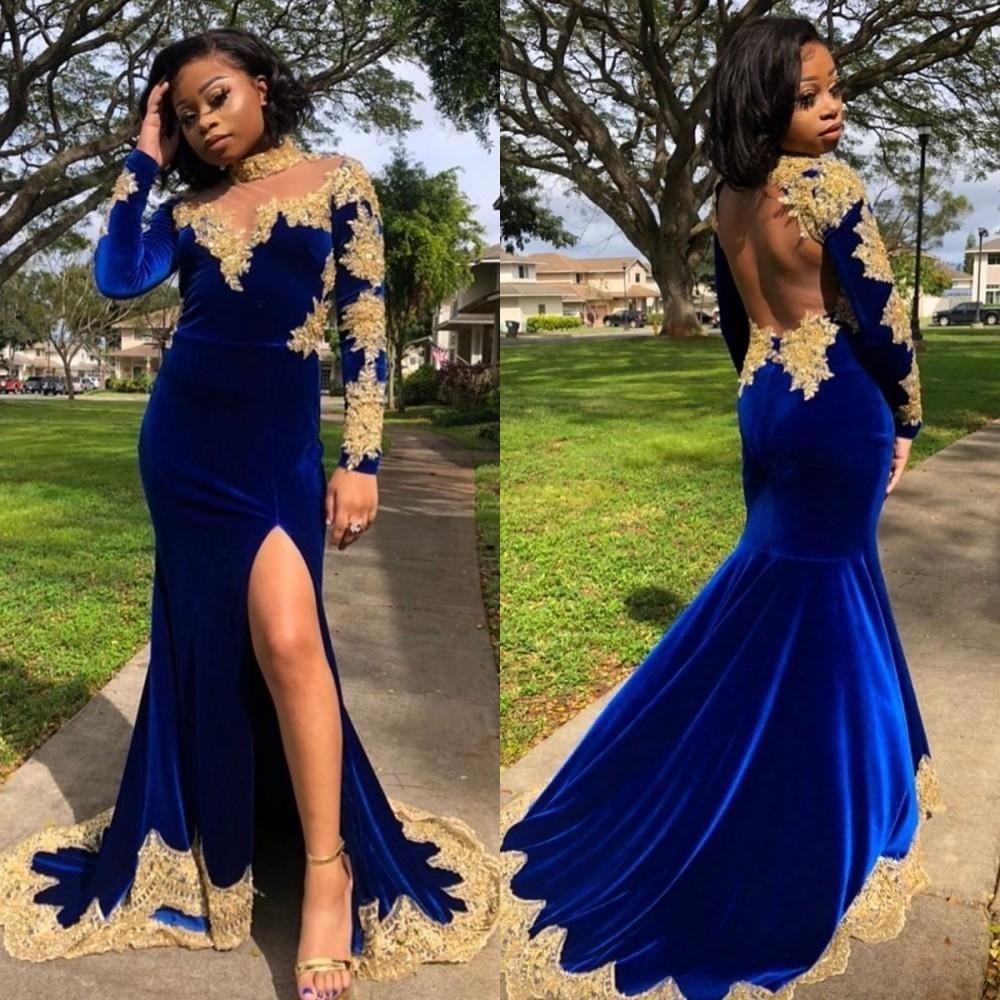 2020 Velvet Arabic African Prom Dresses High Collar Long Sleeve Gold Lace Appliques Mermaid Evening Gowns robes de mariée