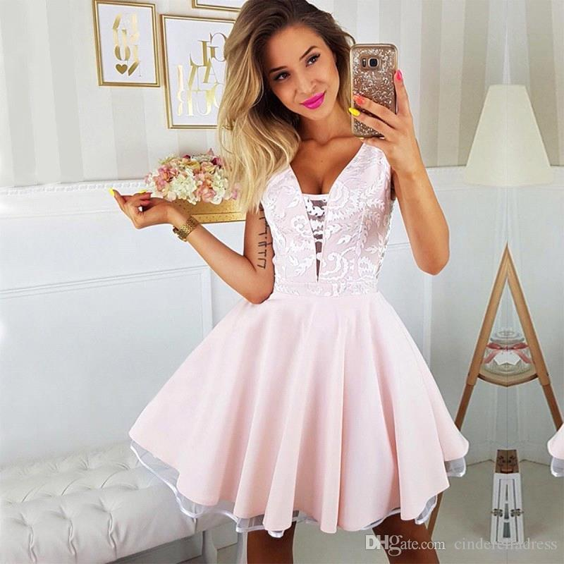 2019 Fall Short Homecoming Dress Dusty Pink Spaghetti Straps Juniors Sweet 15 Graduation Cocktail Party Dress Plus Size Custom Made BC2431